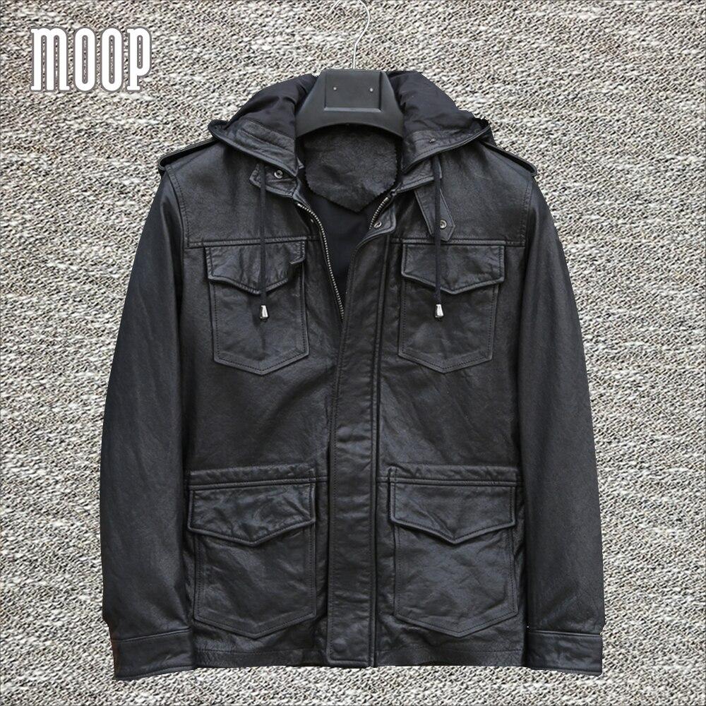 Black genuine leather jackets and coats men 100% goatskin hooded motorcycle jacket coat veste cuir homm pockets decor LT1300