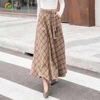 Autumn Winter Warm Women Woolen Skirt High Waist Plaid Skirts Casual A Line Wool Skirts Female Thick Long Big Swing Skirts