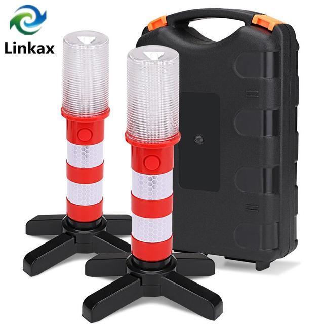 2pc LED Emergency Roadside Flares Detachable Stand Beacon Safety Strobe Light Warning Signal Alert SOS Lamps Magnetic Flashlight