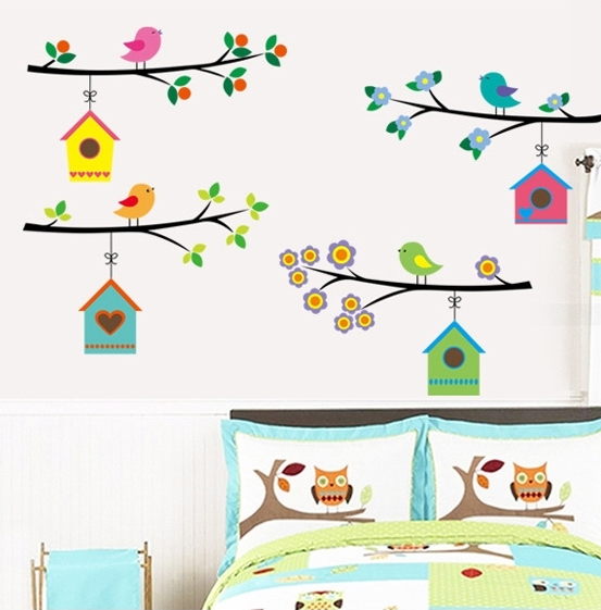 Kinder aufkleber cartoon birdcages tapete vögel wand aufkleber baum ...