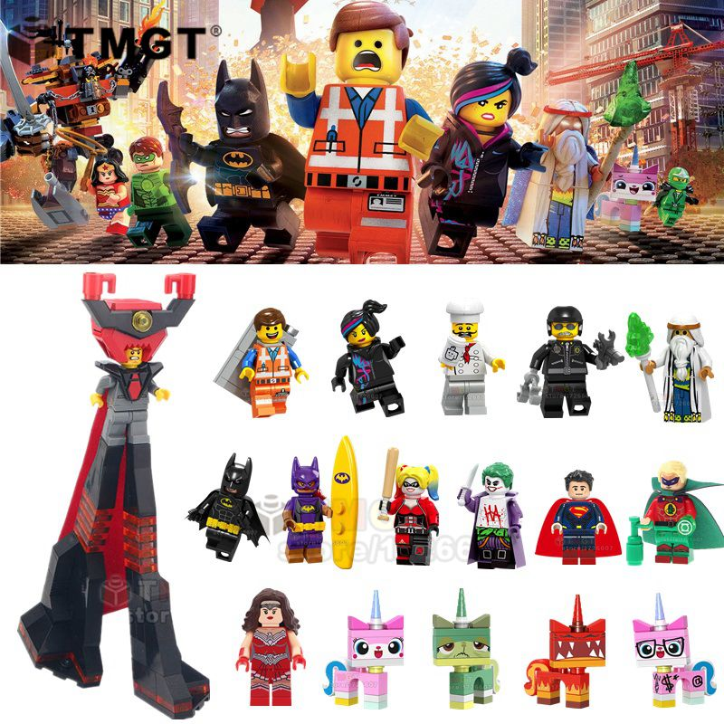 50PCS LOT Wholesale Movie Lord Business Green Lantern Emmet Wonder Woman Joker Building Blocks Toys Gift