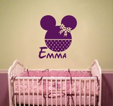 Customized name personaized kids room wall Sticker Removable Vinyl Kids Minnie Head Decals CA-3