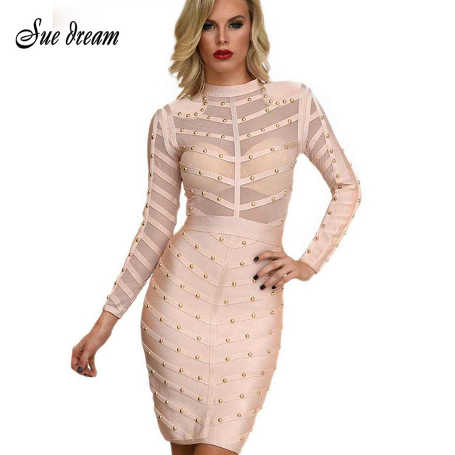 568c7f101c 2018 Summer Beading Mesh Sexy Women Sexy Bodycon Bandage Dress Long Sleeves  Dresses Rayon Black Olive