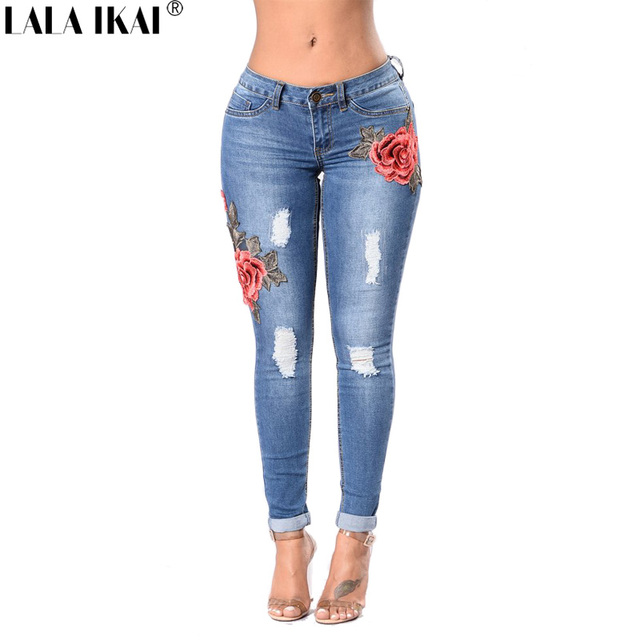 Brand Womens Jeans Cotton Skinny Embroidery Jeans Denim Women Ripped Jeans  Destroyed Hip Hole Ladies Pants