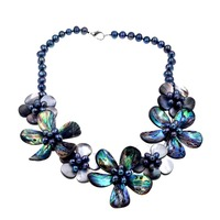 abalone flower and black flower pearl beads necklace 19inch weholesale beads gift FPPJ