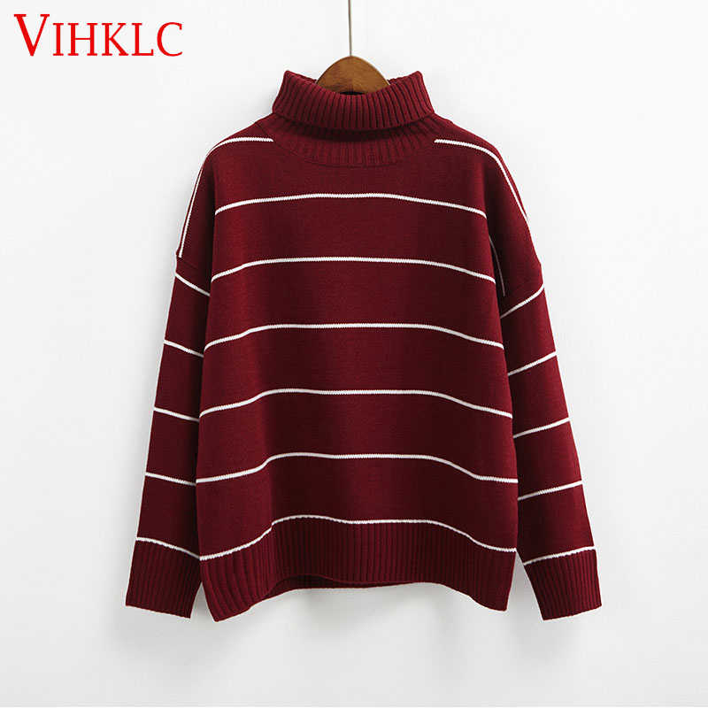 2018 nouveauté femmes pulls décontractés chandail tricoté automne lâche rayé col roulé chandails 6 couleurs B118