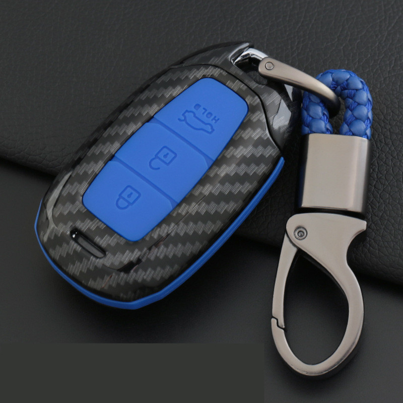 Carbon Fiber Silicone For Hyundai KONA Encino 2018 Car Key Case Car Key Protection Cover Shell Keychain Accessories Key Case For