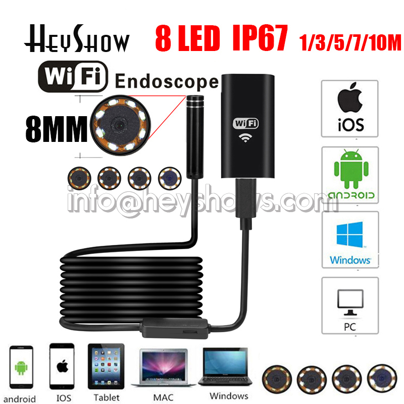 5PCS 8MM 8LED 720P HD Waterproof Endoscope Camera Inspection Softwire Wifi Mini Endoscopio For Android Apple Phone Windows IOS|Surveillance Cameras| |  - title=
