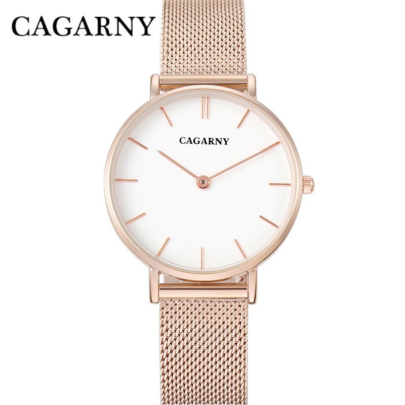 dw style cagarny stainless steel mesh watchband quartz watch for women fashion watches (5)