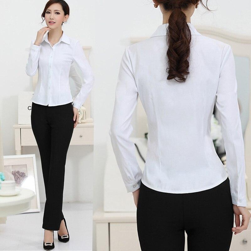 bajo costo buena venta en venta €12.93 16% de DESCUENTO Nueva camisa blanca de moda para mujer, ropa Formal  de trabajo, camisetas elegantes de manga larga, blusas delgadas para ...