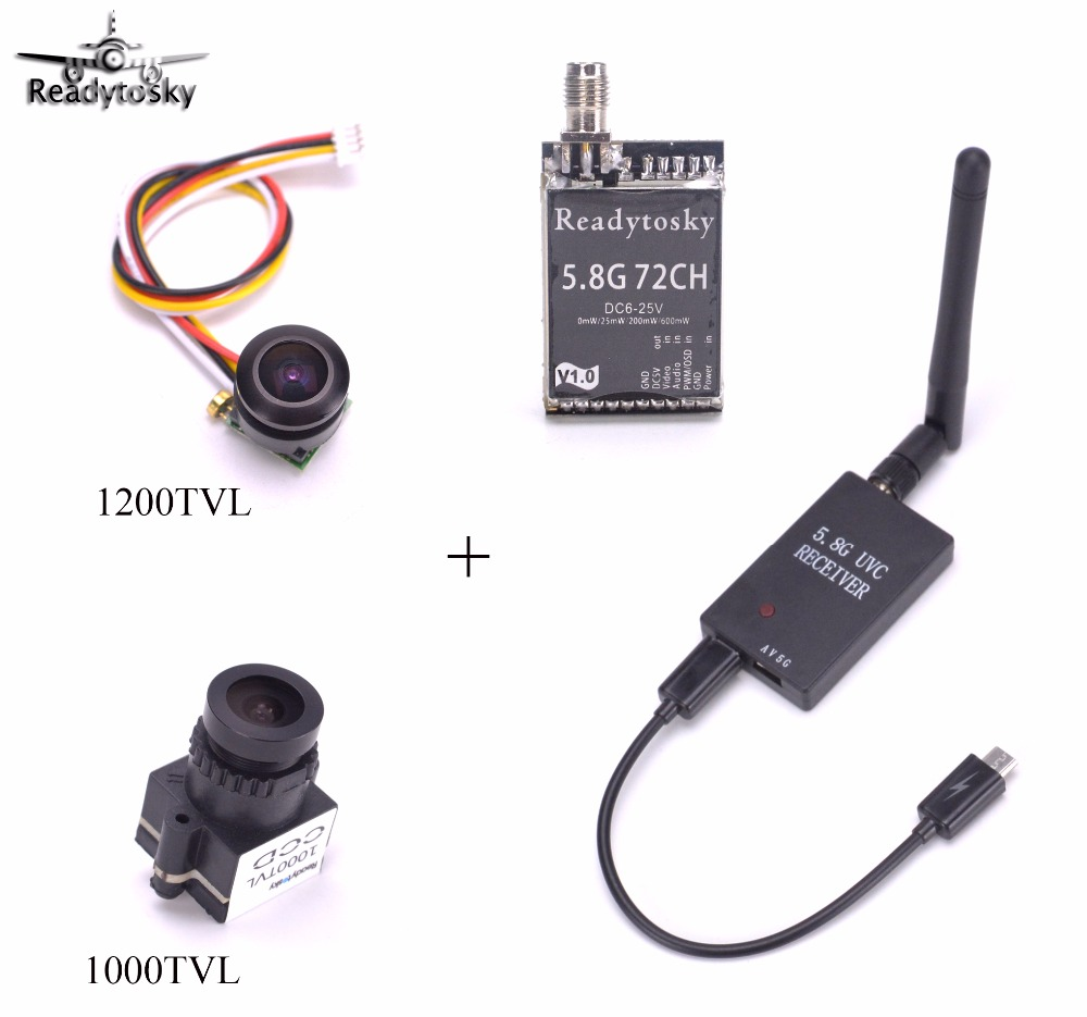 Mini 5.8G FPV Receiver UVC Video Downlink OTG + 5.8Ghz 72CH Switchable FPV AV Transmitter + 1000TVL / 1200TVL camera for Drone-in Parts & Accessories from Toys & Hobbies    1