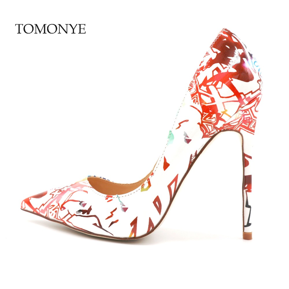 White patent with colorful handwriting pointed toe women lady performance walking show party 12cm spring summer