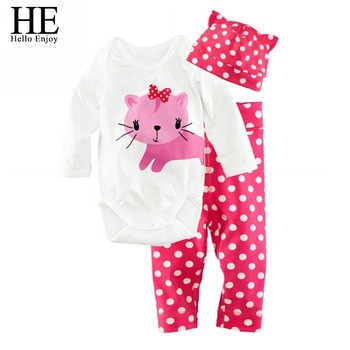 HE Hello Enjoy Baby rompers long sleeve cotton baby infant autumn Animal newborn baby clothes romper+hat+pants 3pcs clothing set 4