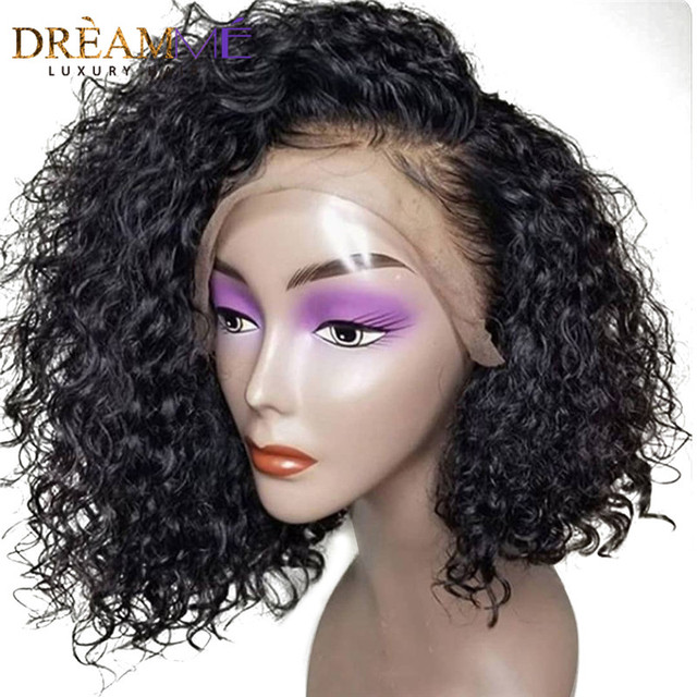150 Dentisy 13x6 Short Curly Bob Wigs Lace Front Human Hair Wigs