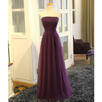 Purple Chiffon Evening Dresses Long 2017 New Elegant Strapless Small Bow Design Custom Plus Sizes Evening Gown