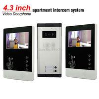2 Units Apartment Doorphone Intercom System 4 3 Inch LCD Monitor Video Door Phone Doorbell Camera