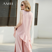 Amii Minimalist Women 2018 Blouse Chiffon Beading Asymmetric Ruffles Sleeveless O Neck Female Blouses Shirts