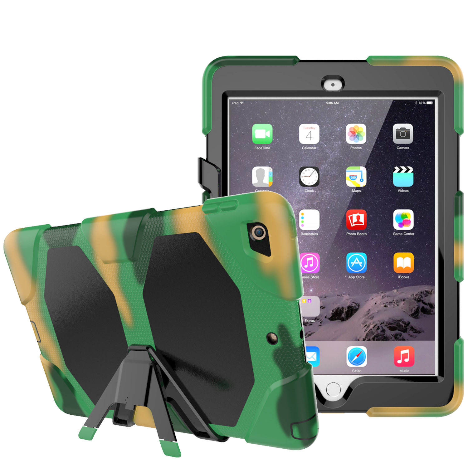 For New iPad 9.7 Inch 2017 Kickstand Case,Heavy Duty Shockproof Rugged Armor Three Layer Hard PC+Silicone Full Body Protective
