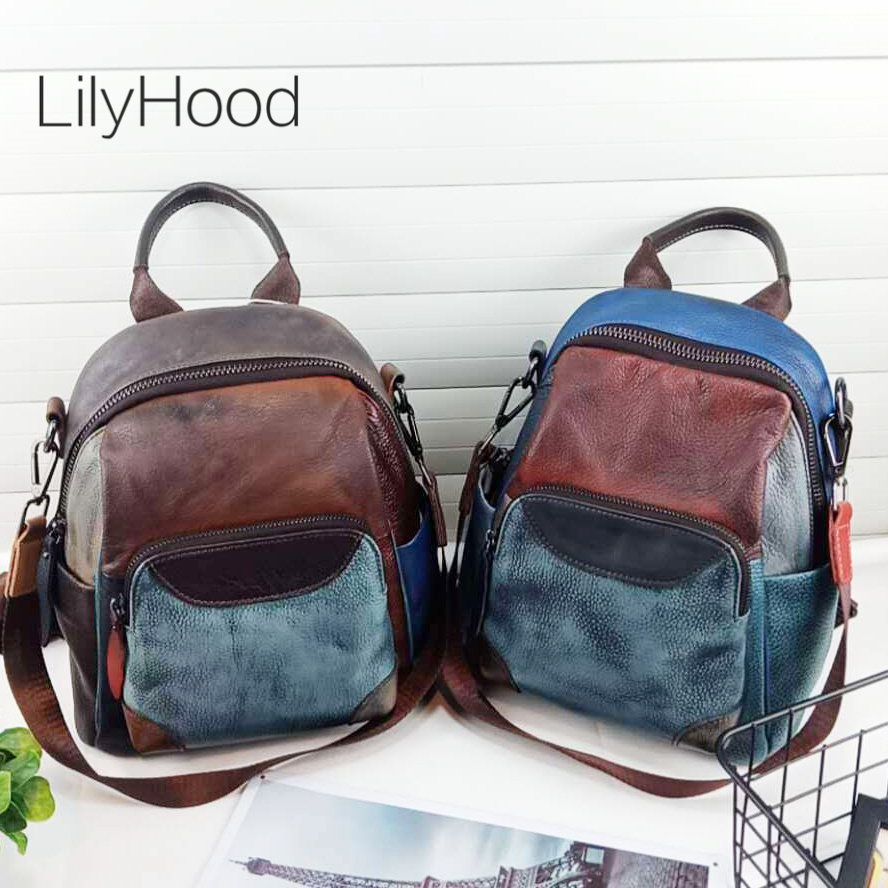 Cowhide Brushed-off Leather Small Backpack Genuine Leather Vintage Style Bagpack for School Teenager Daily Multicolor Book BagCowhide Brushed-off Leather Small Backpack Genuine Leather Vintage Style Bagpack for School Teenager Daily Multicolor Book Bag