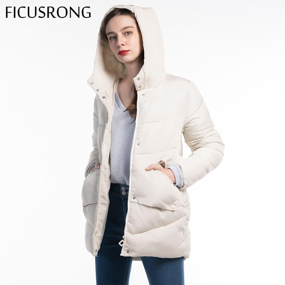 FICUSRONG Woman Winter Coat Thick Warm Hooded Long Down Parkas Women Solid Zipper Jacket Cotton Padded Jacket Outwear 2019 New