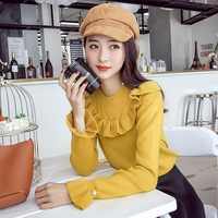 women sweater ruffles long sleeved o neck lotus leaf trumpet sleeves body repair set fashion nail bead pullovers solid female
