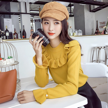 women sweater ruffles long sleeved o-neck lotus leaf trumpet sleeves body repair set fashion nail bead pullovers solid female