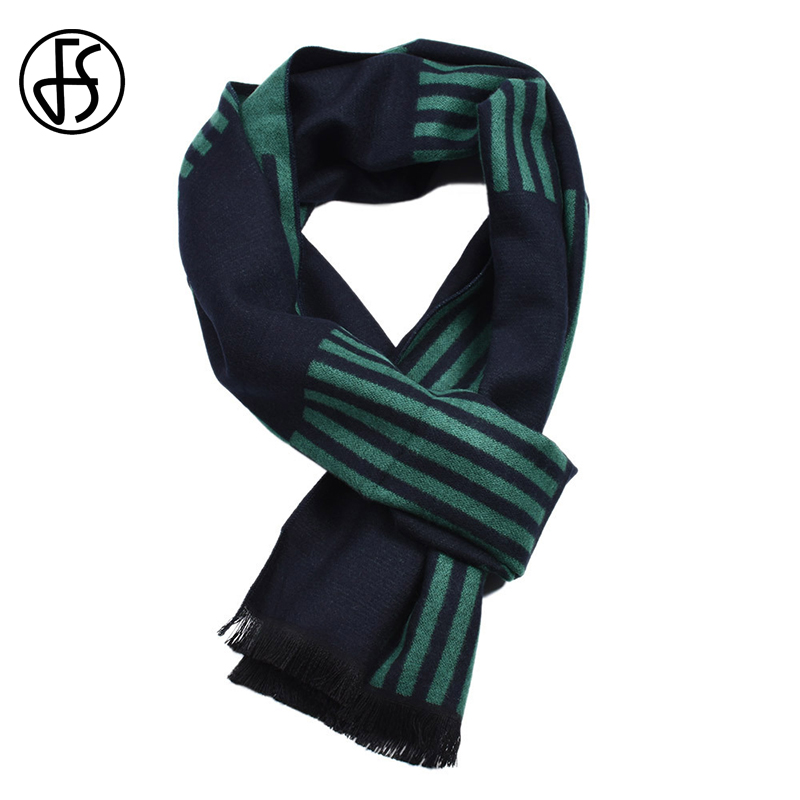 FS Winter Cashmere Geometric Striped   Scarf     Wrap   Shawls Pashmina Luxury Brand Warm   Scarves   For Men Bufanda Echarpe Homme Tassel