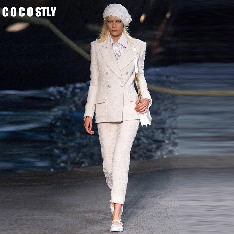 Women White Slim Tweed Blazer Pant Suits Female Suit Dress Women's Business Office Tweed Jacket+Pants Ladies Suit Set