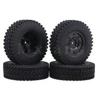Mxfans 1 9 Inch Black Plastic Disc Shape Wheel Rims 98mm Rubber Tires For RC1 10