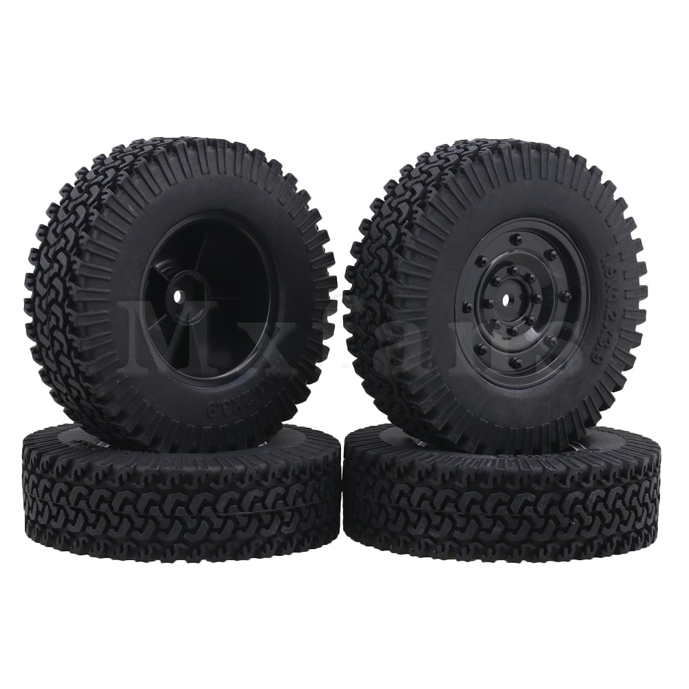 Mxfans 1 9 Inch Black Plastic Disc Shape Wheel Rims 98mm Rubber Tires for RC1 10