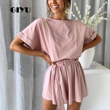 GIYU Summer Short Sleeve Playsuits Casual Loose Solid Bodysuits Women Overalls with Sashes High Waist Tie Up Romper