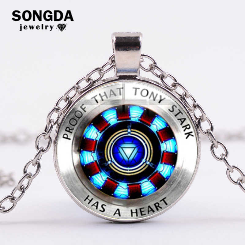 SONGDA Marvel Iron Man Tony Stark Arc Reactor Necklace Glass Cabochon Pendant The Avengers 4 Endgame Quantum Realm Film Souvenir