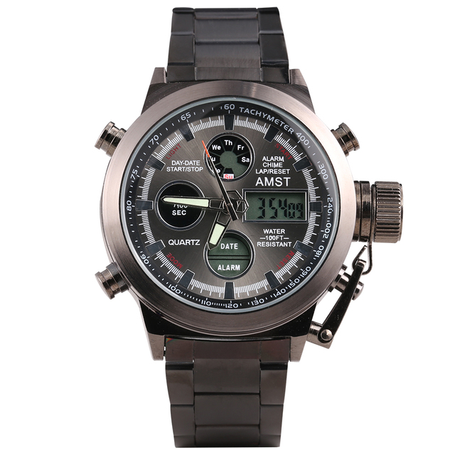 Amst Военная Униформа Часы Нержавеющаясталь ремень светодиодный Часы Для мужчин лучший бренд класса люкс кварцевые часы Reloj Hombre Relogio Masculino