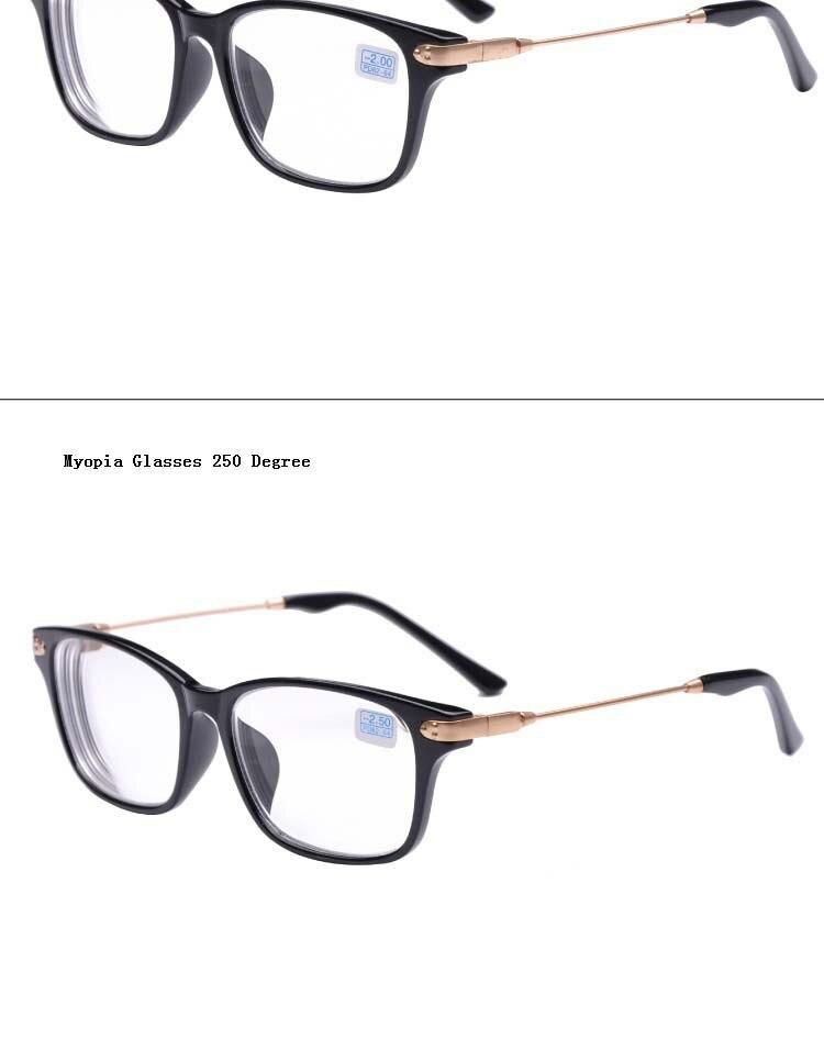 סיימתי קוצר ראיה משקפיים שחור מסגרת מתכת זהב הרגליים שקוף עדשות ראייה מרשם משקפיים -1 -1.5 -2 -2.5 -3 -3.5 -4