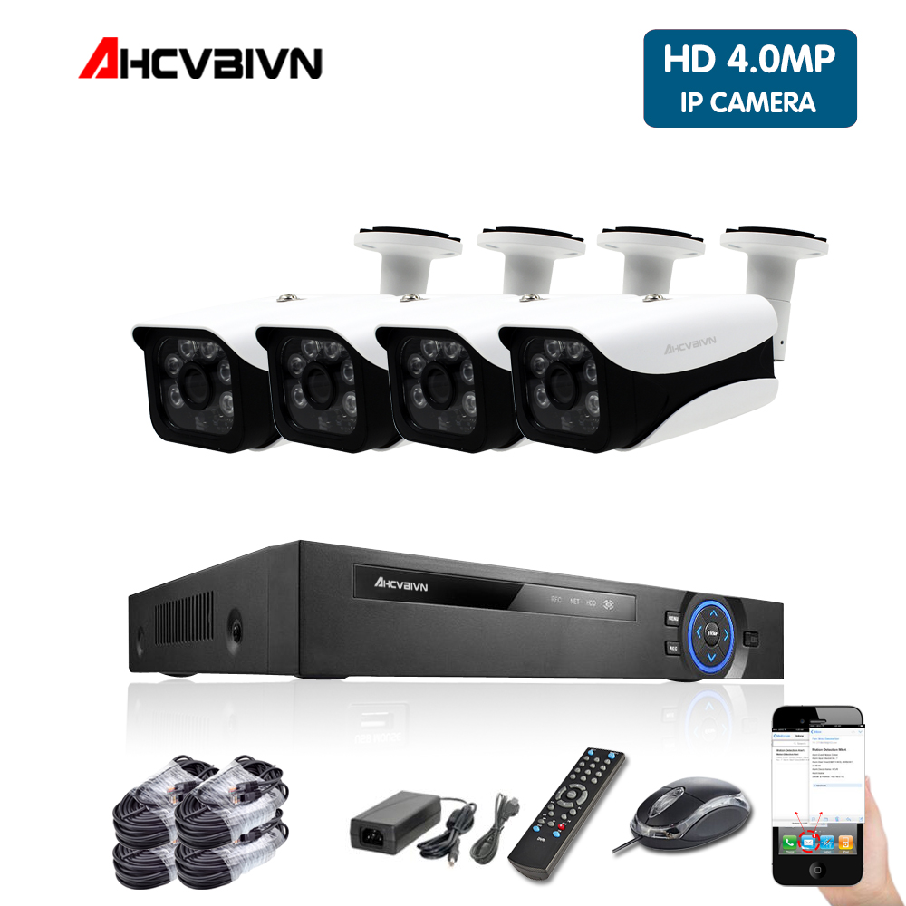 AHCVBIVN 5MP POE NVR Kit 4 0MP HD CCTV Security camera System Audio monitor IP Camera