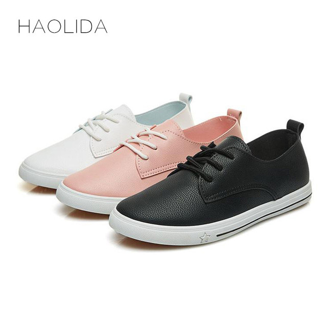 2019 Spring Summer New Leather Women Shoe Casual Leather Shoes For Women Flat Shoes White Ladies Lacing Loafers Zapatos Mujer