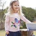 2016 осень новые девушки розовый полосатый футболка детская с длинными рукавами хлопок патч девушки футболка заводские магазины