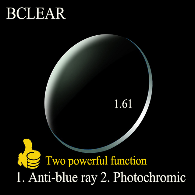 BCLEAR 1.61 Index Aspheric Anti blue Ray Lenses Transitions Photochromic Lenses Single Vision Lens Chameleon Gray Brown Myopia