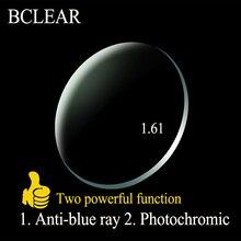 BCLEAR 1.61 endeks asferik Anti blue Ray lensler geçişleri fotokromik lensler tek vizyon Lens bukalemun gri kahverengi miyopi
