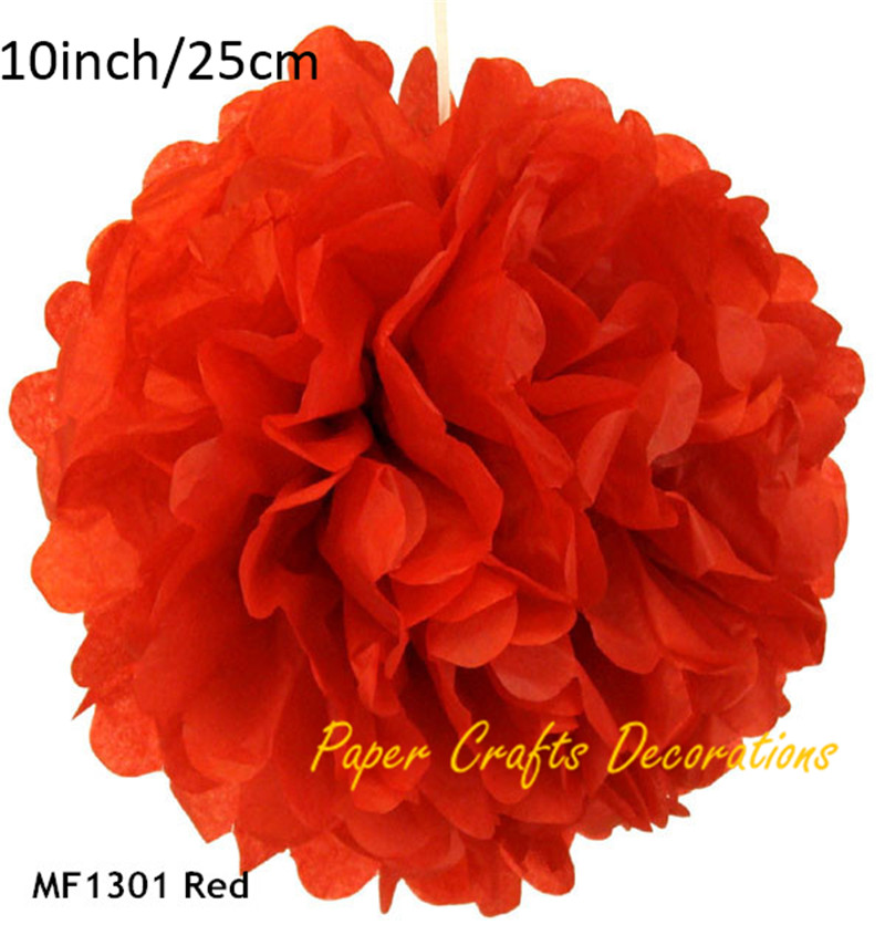 Acheter 10 pouces = 25 cm 20 pcs/lot DIY Rouge Mariage Papier De soie de Pom Poms Hanging Rose Fleurs Boule Pour L'anniversaire partie Festival Décorations de rose flower ball fiable fournisseurs