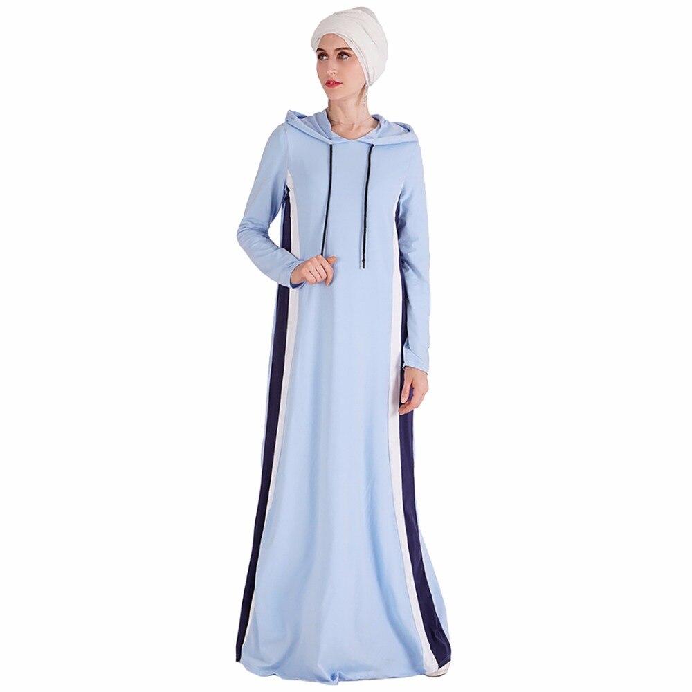 Babalet femmes musulman Islam décontracté Slim fit à manches longues épissure longue Maxi sport à capuche robe sweat respirant EID coton