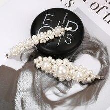 2019 simple and popular hand-woven pearl hair clip beautiful temperament European American word headwear