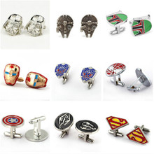 HSIC Star Wars Darth Vader Black Enamel Shirt Cufflinks For Men Brand Storm Trooper Superhero Falcon Boba Cuff Buttons Wholesale