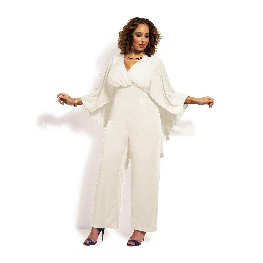 2016 chiffon elegant jumpsuit rompers women sexy v neck white