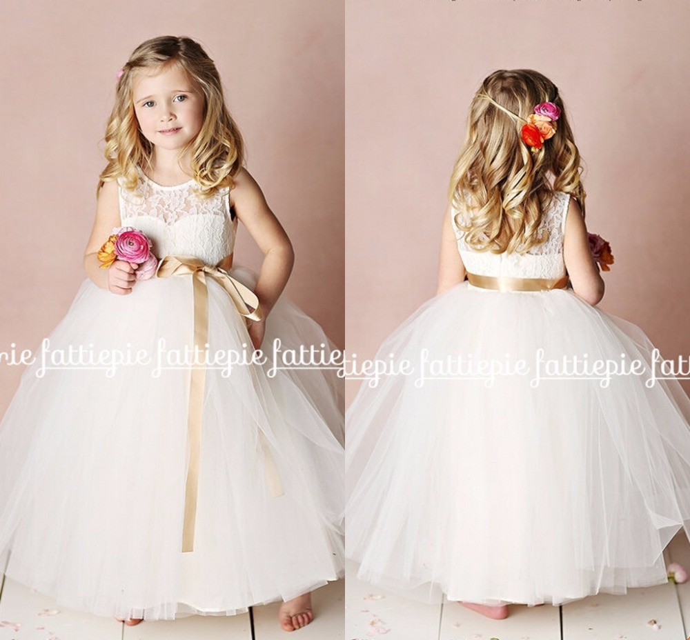 Bola Blanca Vestido De Encaje Largo Vestidos Niña Para Bodas