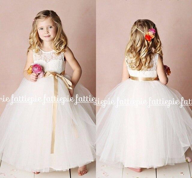 Bola blanca vestido de encaje largo vestidos niña para bodas Girls ...