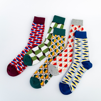 Colorful Men's Cotton Dress Funny Socks Novelty Casual Personality Design Hip Hop Street Wear Happy Wedding Socks Gifts for Male 1