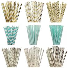 25pcs/lot Foil Gold/Silver Blue Paper Straws For Kids Birthday Valentines Wedding Decorative Mickey Flag Event Party Supplies