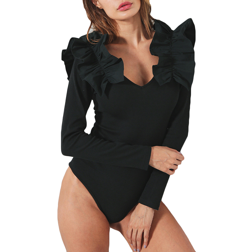Sexy Ruffle Black Bodysuit Rompers Womens Jumpsuit 2018 Deep V-neck Long Sleeve Bodysuit ...