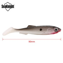 SeaKnight SL001 T-Tail Fish 6g 90mm Soft Fishing Lure 4Pieces/Lot Soft Bait 3 Colors with Fish Scales 3D Eyes Lake River Fishing